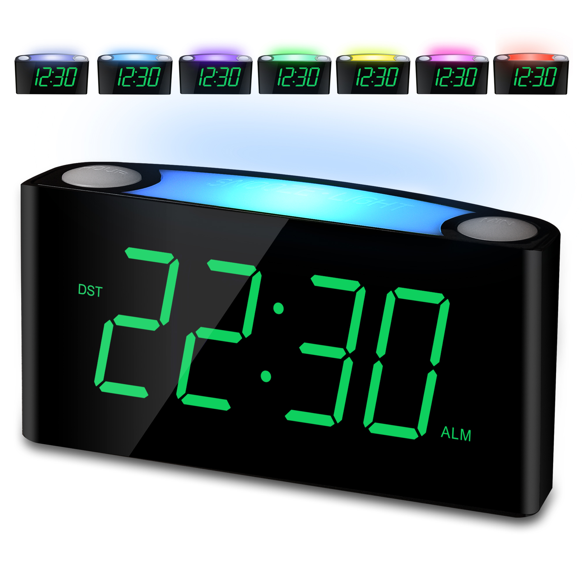 Alarm Clock Large 7 Digital Led Display 7 Colored Night